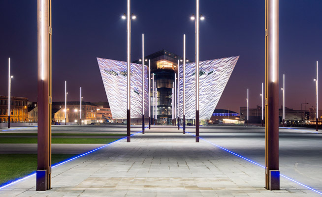 Titanic Belfast night from slipways